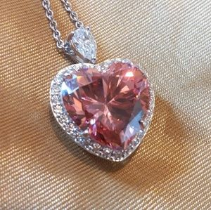 Pink Cubic Zirconia Heart Necklace